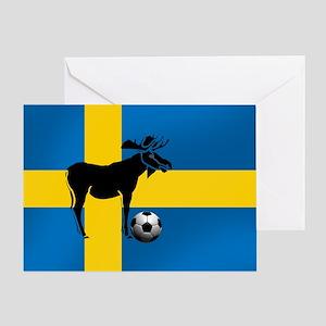 Swedish Soccer Elk Flag Greeting Cards