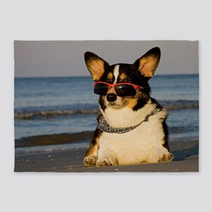 Cool Dog at the Beach 5'x7'Area Rug