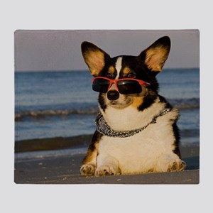 Cool Dog at the Beach Throw Blanket