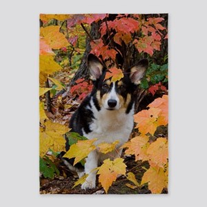 Cute Corgi in Fall Colors 5'x7'Area Rug