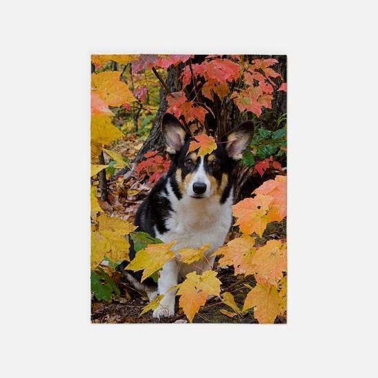 Cute Corgi in Fall Colors 5'x7'Area Rug