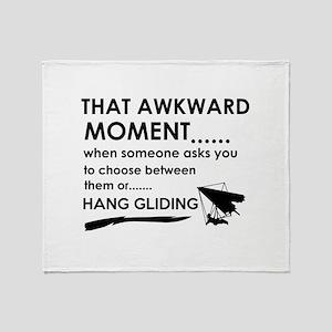 Awkward moment hand gliding designs Throw Blanket
