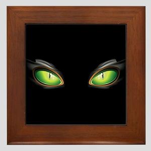 Cat Green Eyes Framed Tile