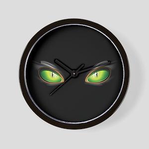 Cat Green Eyes Wall Clock