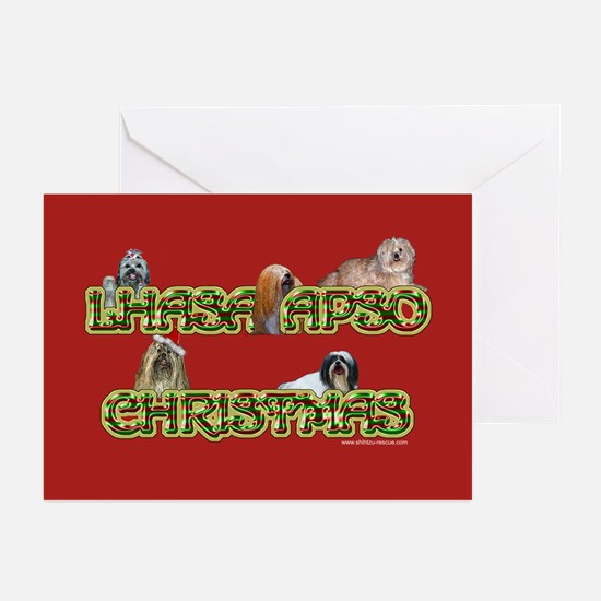 Lhasa Apso Christmas Candy Greeting Cards (Package