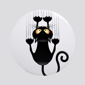 Black Cat Cartoon Scratching Wall Ornament (Round)