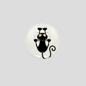 Black Cat Cartoon Scratching Wall Mini Button