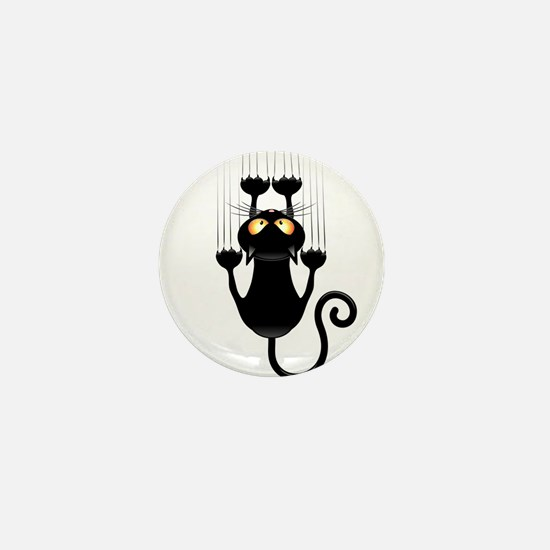 Black Cat Cartoon Scratching Wall Mini Button