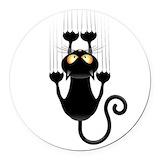 Black cat cartoon Round Car Magnets