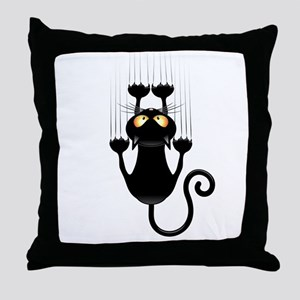 Black Cat Cartoon Scratching Wall Throw Pillow
