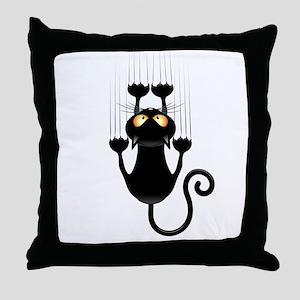 Black Cat Cartoon Scratching Wall Throw Pillow