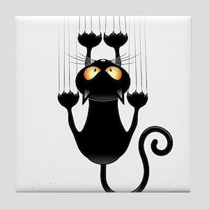 Black Cat Cartoon Scratching Wall Tile Coaster