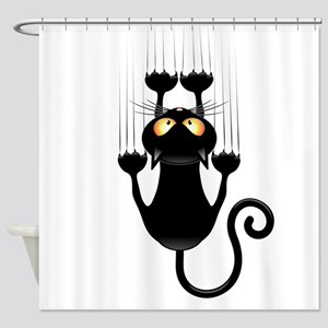 Black Cat Cartoon Scratching Wall Shower Curtain
