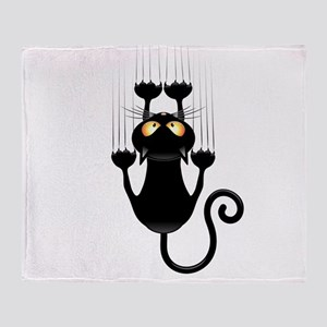 Black Cat Cartoon Scratching Wall Throw Blanket