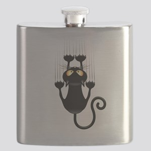 Black Cat Cartoon Scratching Wall Flask