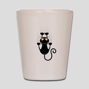 Black Cat Cartoon Scratching Wall Shot Glass