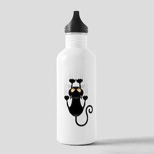 Black Cat Cartoon Scratching Wall Water Bottle