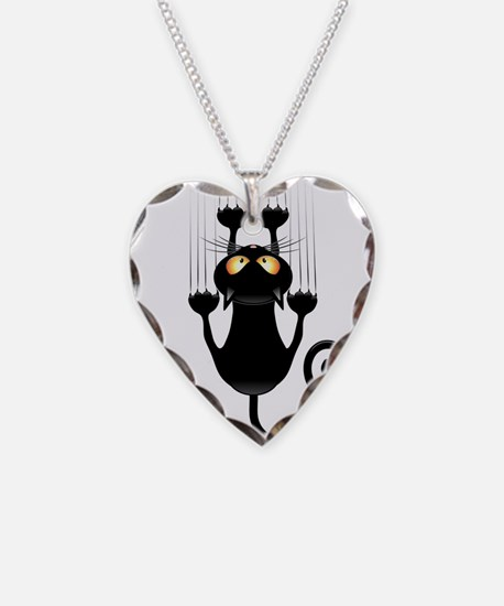 Black Cat Cartoon Scratching Wall Necklace