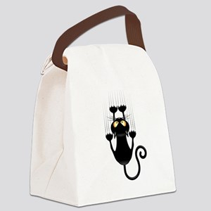 Black Cat Cartoon Scratching Wall Canvas Lunch Bag
