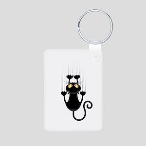 Black Cat Cartoon Scratching Wall Keychains