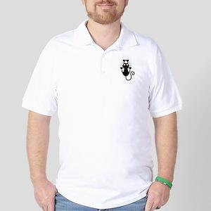 Black Cat Cartoon Scratching Wall Golf Shirt