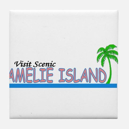 Visit Scenic Amelie Island, F Tile Coaster