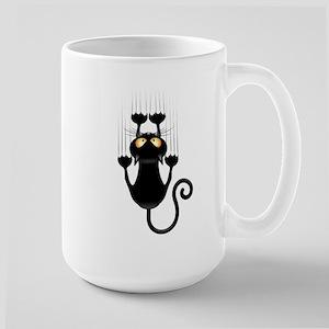Black Cat Cartoon Scratching Wall Large Mug