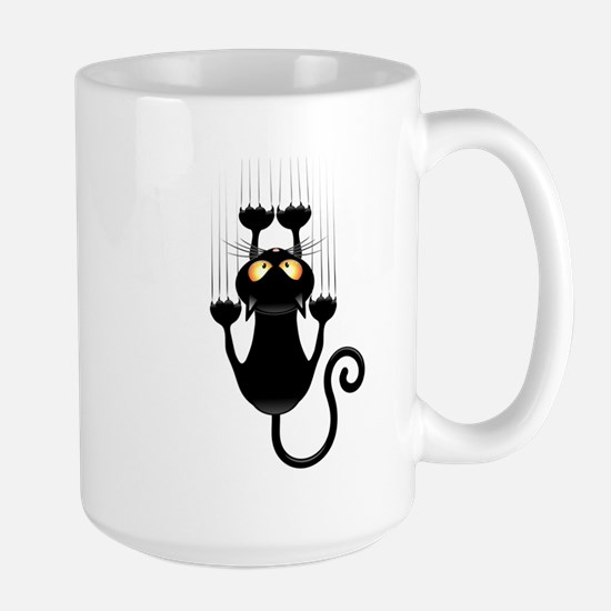 Black Cat Cartoon Scratching Wall Large Mug
