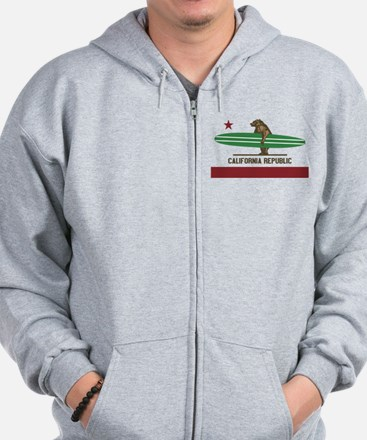 California Surfing Bear Longboard Zip Hoodie