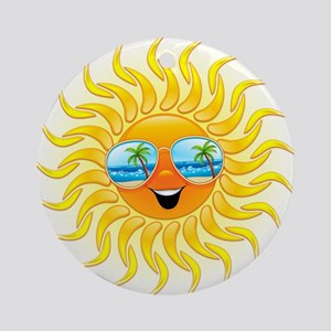 Summer Sun Cartoon with Sunglasses Ornament (Round