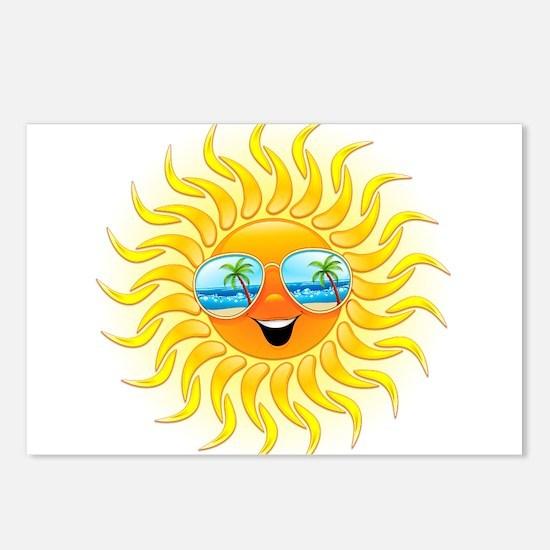 Summer Sun Cartoon with Sunglasses Postcards (Pack