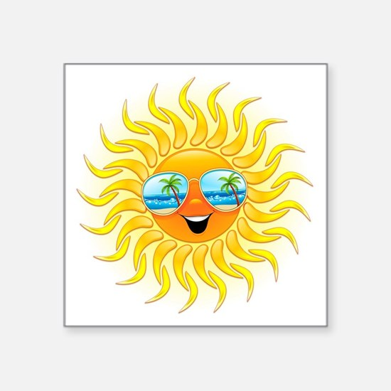 Summer Sun Cartoon with Sunglasses Sticker