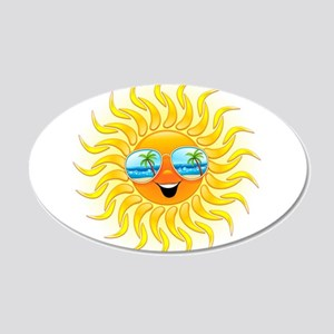 Summer Sun Cartoon with Sunglasses Wall Decal