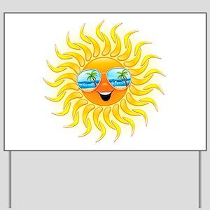 Summer Sun Cartoon with Sunglasses Yard Sign