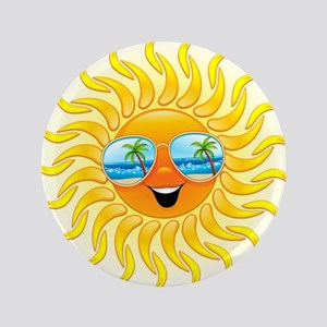 "Summer Sun Cartoon with Sunglasses 3.5"" Button"