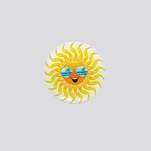 Summer Sun Cartoon with Sunglasses Mini Button