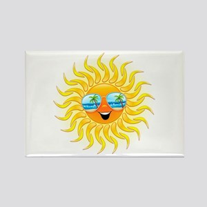 Summer Sun Cartoon with Sunglasses Rectangle Magne