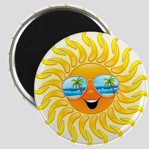 Summer Sun Cartoon with Sunglasses Magnet