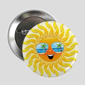 "Summer Sun Cartoon with Sunglasses 2.25"" Button"