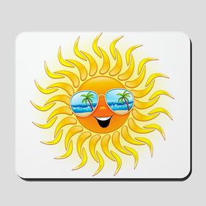 Summer Sun Cartoon with Sunglasses Mousepad