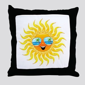 Summer Sun Cartoon with Sunglasses Throw Pillow