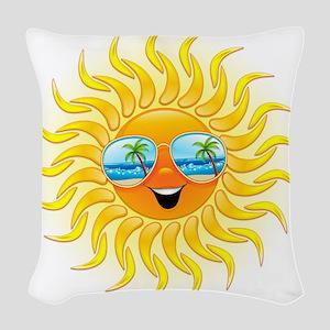 Summer Sun Cartoon with Sunglasses Woven Throw Pil
