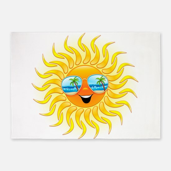 Summer Sun Cartoon with Sunglasses 5'x7'Area Rug