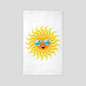 Summer Sun Cartoon with Sunglasses 3'x5' Area Rug