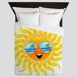 Summer Sun Cartoon with Sunglasses Queen Duvet