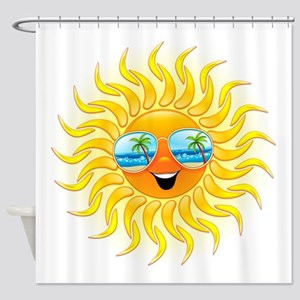Summer Sun Cartoon with Sunglasses Shower Curtain