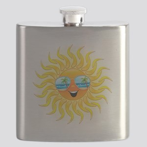 Summer Sun Cartoon with Sunglasses Flask