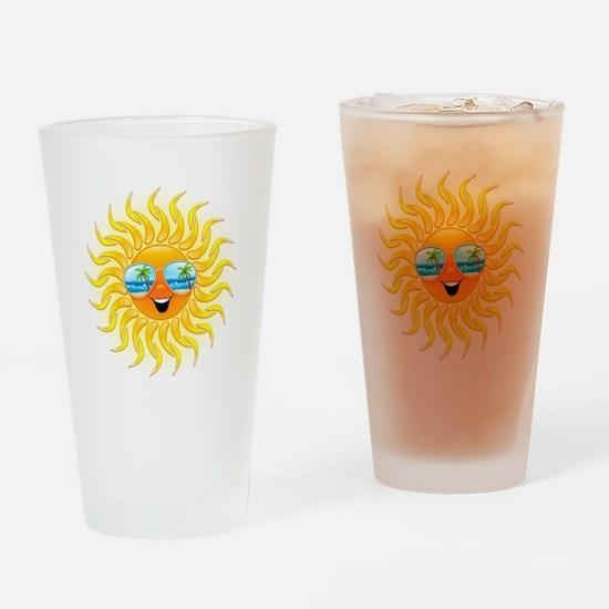 Summer Sun Cartoon with Sunglasses Drinking Glass