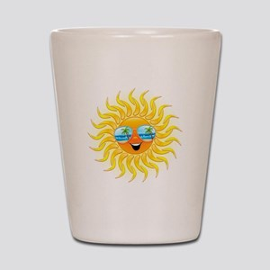 Summer Sun Cartoon with Sunglasses Shot Glass