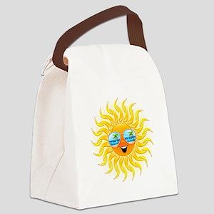 Summer Sun Cartoon with Sunglasses Canvas Lunch Ba